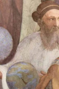The School of Athens by Raphael 1509- Zoroaster left, with star-studded globe